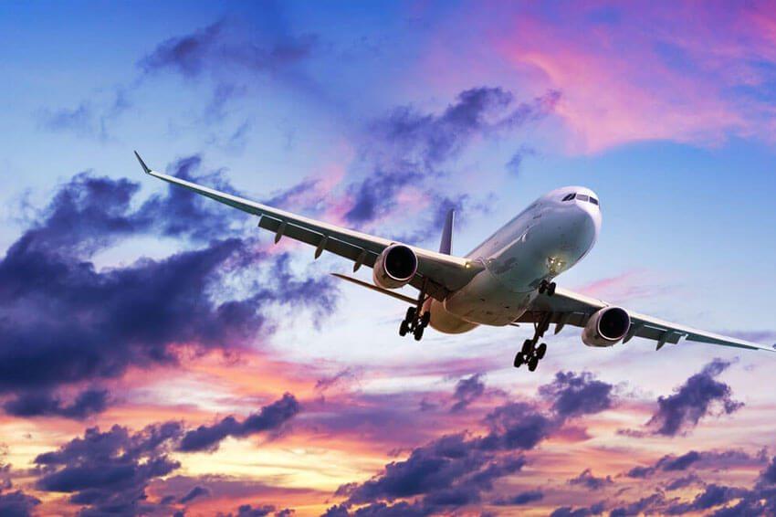 Private jet in beautiful skies