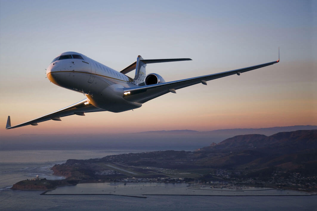 Private Jet sunset background