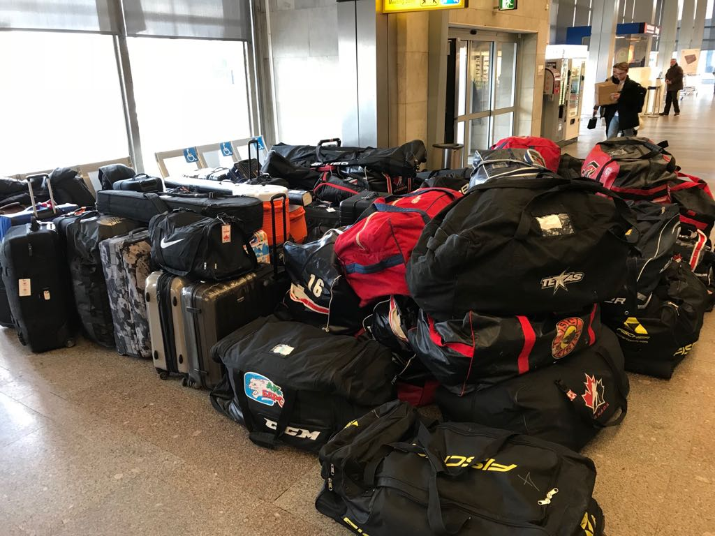 Luggage at airport - winter olympics