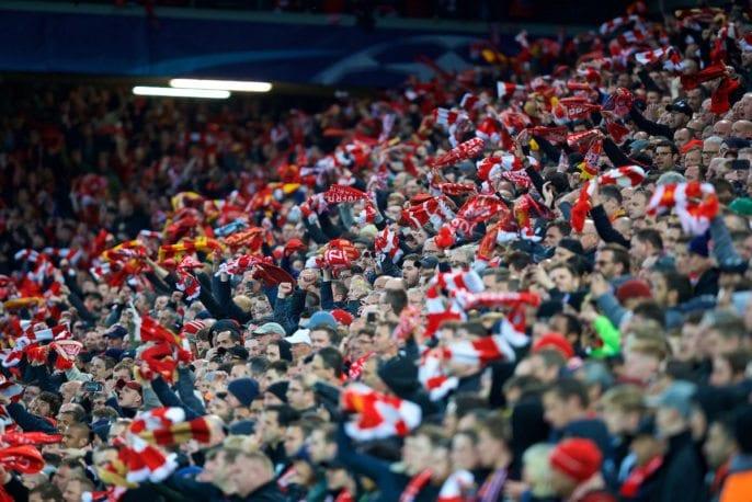 Liverpool fans at a football match